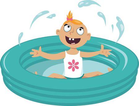 infant bathing: Baby girl splashing water in an inflatable pool Illustration