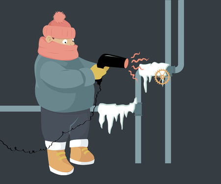 A person attempting to unfreeze frozen water pipes with a hair dryer