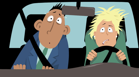 Female driver suffering of a driving phobia with a terrified passenger in a car, EPS 8 vector illustration, no transparencies