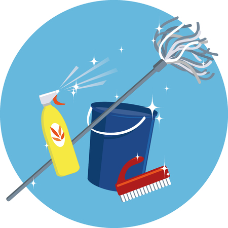 Cleaning tools and supplies: a bucket, a mop, a spray bottle and a brush