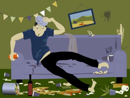 hangover: Young man suffering from a hangover sitting on a couch in a messy room after a party, EPS 8 vector illustration, no transparencies