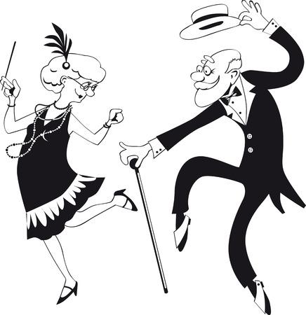 チャールストンを踊る漫画老夫婦のベクトル ライン アート  イラスト・ベクター素材