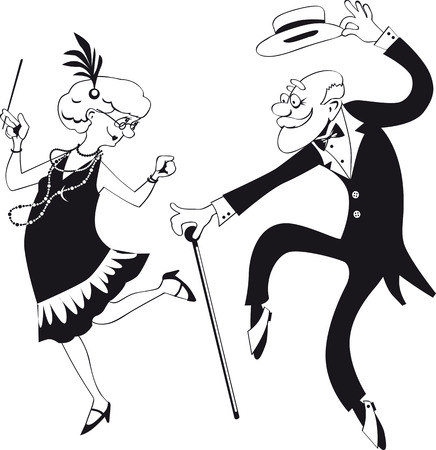 Vector line art of a cartoon elderly couple dancing the Charleston Vectores