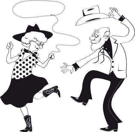 스퀘어 댄스 또는 contradance을 춤 전통적인 서부 의상을 입고 수석 부부의 벡터 라인 아트 일러스트