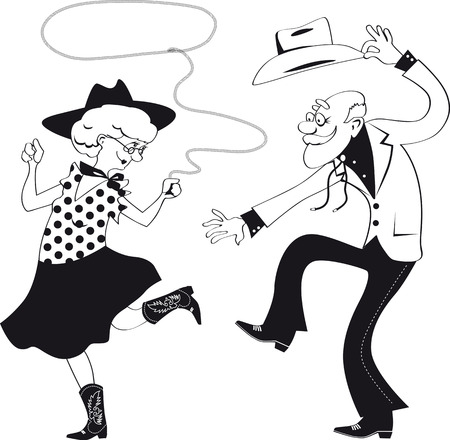 Vector line art of a senior couple dressed in traditional western costumes dancing square dance or contradance