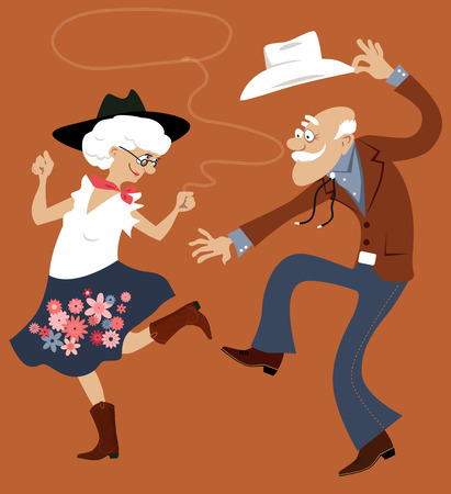 Senior paar gekleed in traditionele westerse kostuums dansen square dance of contradance, EPS 8 vector illustratie, geen transparanten