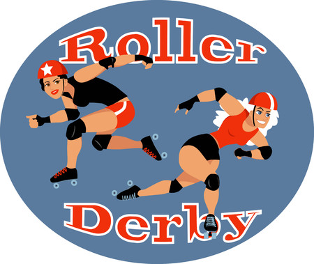 Two roller derby players