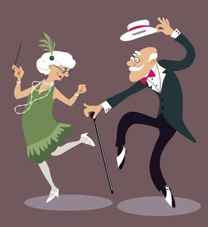 チャールストンを踊る漫画老夫婦  イラスト・ベクター素材