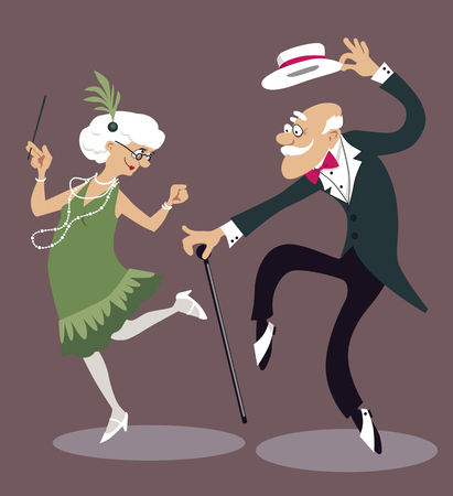 Cartoon elderly couple dancing the Charleston