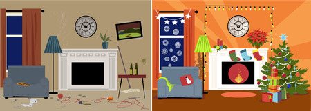 Dingy messy family room transformed into a cozy decorated for Christmas room Illustration
