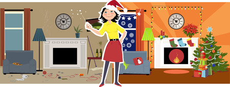 Woman in a Santas hat transforming a messy dirty living room into a cozy Christmas decorated room Ilustração