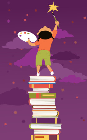 aspirational: Little girl standing on a pile of books painting a star on the sky Illustration