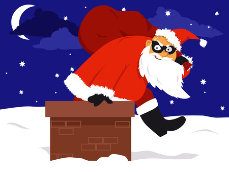 A thief in a Santa costume climbing out of a chimney with a bag filled with stolen belongings