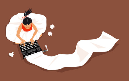 Jeune femme assise sur un plancher et en tapant sur une dactylographie vintage, longue liste de papier sortant de celui-ci