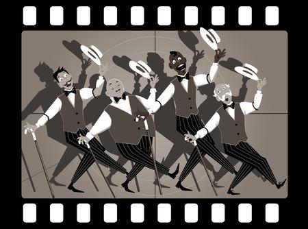 Quartet of singers in barbershop genre singing and dancing in an old movie frame