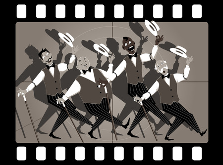 Quartet of singers in barbershop genre singing and dancing in an old movie frame Illustration