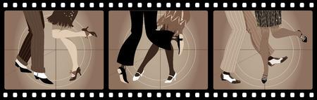 1920 年代の服が古い映画でチャールストンを踊る人の足写真フレーム