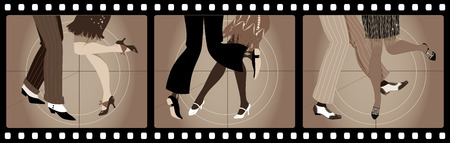 Legs of people in 1920s clothes dancing the Charleston in old movie picture frames Vettoriali