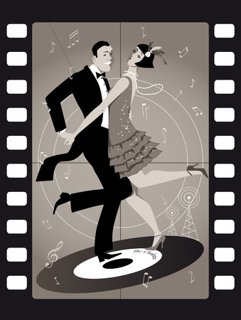 period costume: A couple dressed in 1920s fashion dancing the Charleston on a vinyl record in an old movie frame