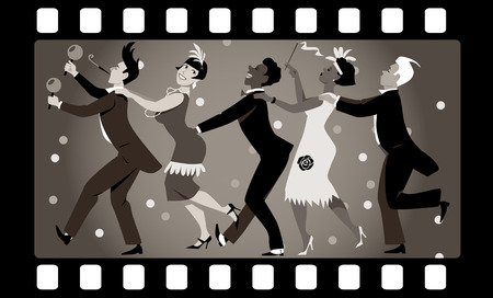 Group of people dressed in 1920s fashion dancing in a conga line in an old movie frame
