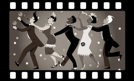 flapper: Grupo de gente vestida en el baile de moda en 1920 una línea de conga en un fotograma de la película de edad