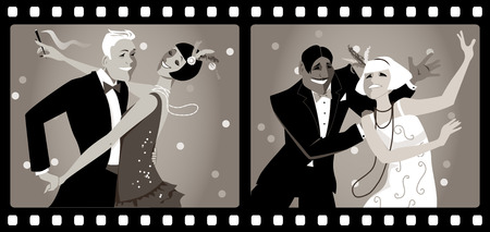 period costume: Portraits of two couples dressed in 1920s fashion dancing in an old movie frames