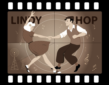 jive: Couple dressed in vintage fashion dancing Lindy Hop in an old movie frame