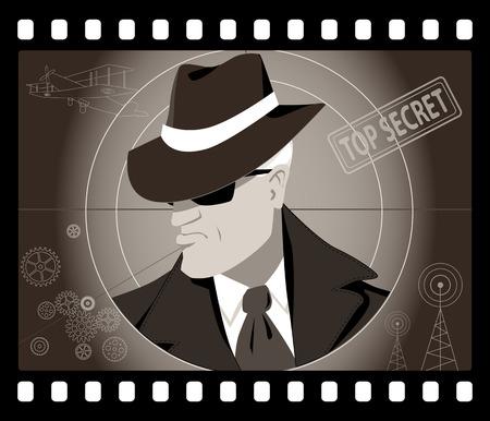 Old time male secret agent or detective in an old movie frame, vector illustration Illustration