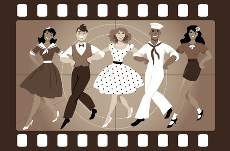 gal: A chorus line of male and female performers dressed in vintage fashion dancing a routine in an old movie frame