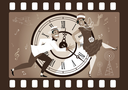 Funny cartoon couple dressed in vintage fashion dancing the Charleston