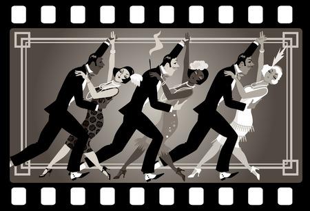 古いビデオ フレームで踊るレトロなファッションに身を包んだ人々 のグループ