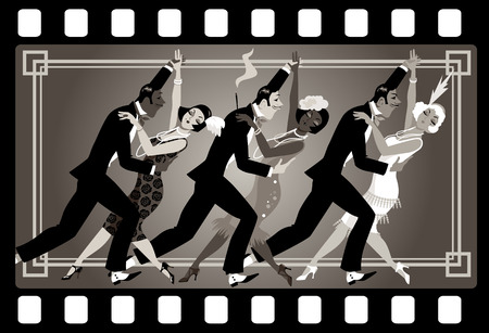Group of people dressed in retro fashion dancing in an old movie frame