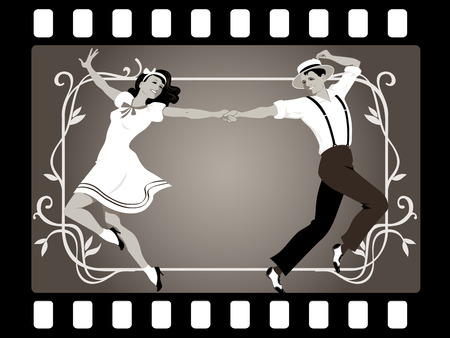 Young couple in retro attire dancing in an old movie frame