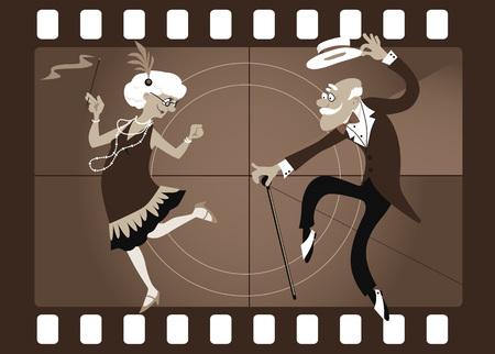 古いビデオ フレーム、EPS 8 ベクトル図でチャールストンを踊る漫画老夫婦