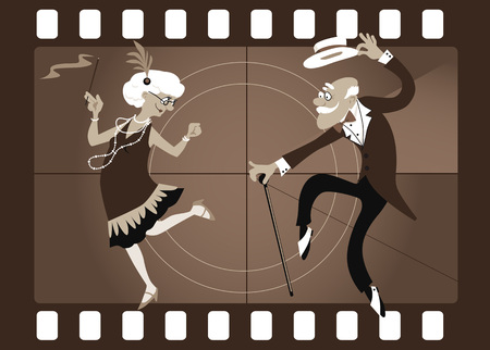 Cartoon elderly couple dancing the Charleston in an old movie frame, EPS 8 vector illustration