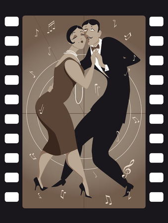 Funny cartoon couple dancing tango in an old movie frame
