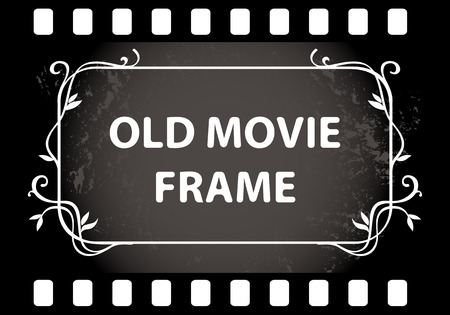 old movie: Old movie frame with a sample text