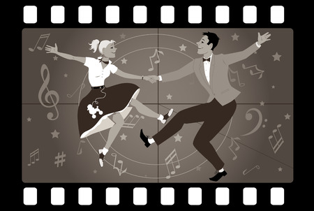 Couple dancing 1950s style rock and roll in an old movie frame