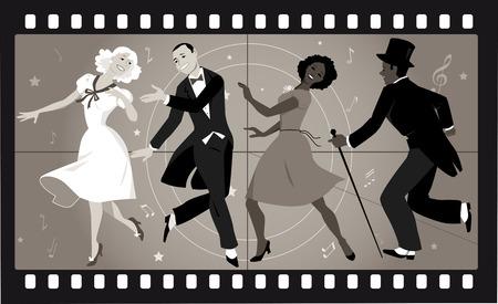 Ludzie w retro strojach profilowych taniec w starej ramie filmu Ilustracje wektorowe