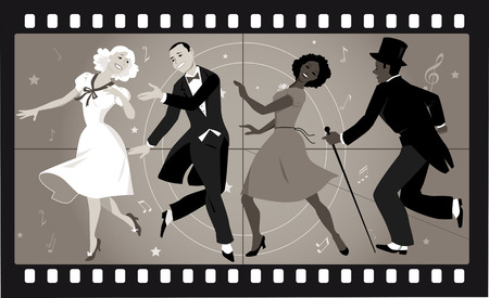 People in retro stile costumes dancing in an old movie frame