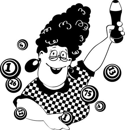 ビンゴ面白い漫画女性のベクトル ライン アート  イラスト・ベクター素材