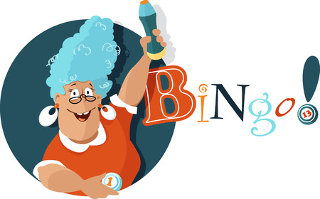 Cheerful mature woman holding a bingo ball and a felt pen Illustration
