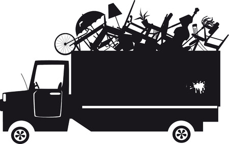Black vector silhouette of a waste collection truck filled with garbage