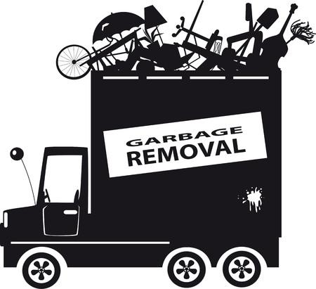 Schwarz Vektor-Silhouette eines Abfallsammelfahrzeug mit Müll gefüllt