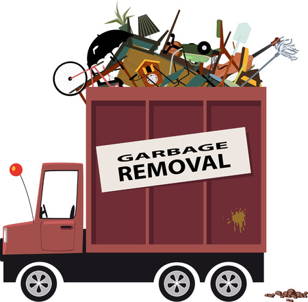 moving truck: Cartoon waste collection truck filled with garbage