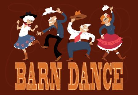 Senior personas vestidas con trajes tradicionales occidentales bailando en un baile de granero Foto de archivo - 63590966