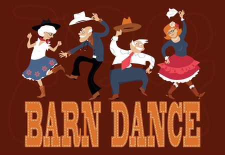 Senior people dressed in traditional western costumes dancing at a barn dance