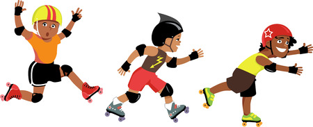 speed skating: Three little boys cartoon characters roller skating, isolated on white Illustration