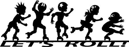 """Grupo de niños de rodillos patinaje en el banner """"Vamos a rodar"""""""