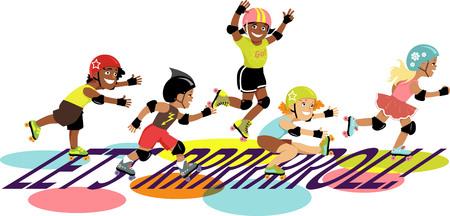 roller skating: Group of children roller skating